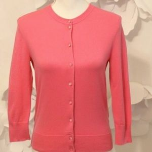 NWT J.Crew Factory pink 3/4 button cardigan small
